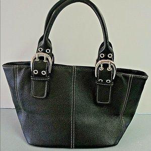 Tignanello black purse small tote style